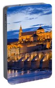 Puente Romano And Mezquita At Twilight In Cordoba Portable Battery Charger