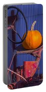 Pumpkin On Tractor Seat Portable Battery Charger