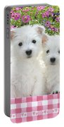 Puppies In A Pink Basket Portable Battery Charger