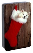 Puppy In Christmas Stocking Portable Battery Charger
