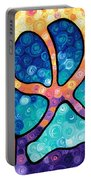 Puppy Love - Colorful Dog Paw Art By Sharon Cummings Portable Battery Charger