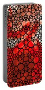 Pure Passion 2 - Stone Rock'd Red And Black Art Painting Portable Battery Charger by Sharon Cummings