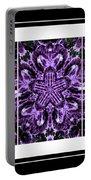 Purple Abstract Flower Garden - Kaleidoscope - Triptych Portable Battery Charger