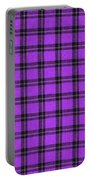 Purple And Black Plaid Textile Background Portable Battery Charger