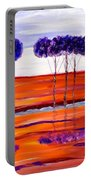 Purple And Blue Trees Abstract Portable Battery Charger