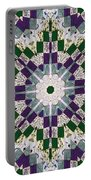 Purple And Green Patchwork Art Portable Battery Charger