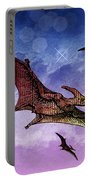 Purple And Green Ptreodactyls Soaring In The Sky Portable Battery Charger