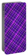Purple And Pink Diagonal Plaid Fabric Background Portable Battery Charger
