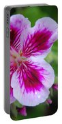 Purple And White Flowers Portable Battery Charger