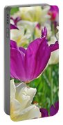 Purple And White Tulips Portable Battery Charger
