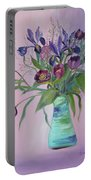 Purple Belle Bouquet  Tulips And Irises Portable Battery Charger