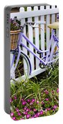 Purple Bicycle And Flowers Portable Battery Charger by David Smith
