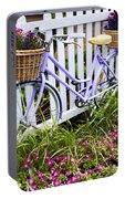 Purple Bicycle And Flowers Portable Battery Charger