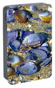 Purple Clam Shells On A Beach Portable Battery Charger