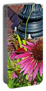 Purple Coneflowers By Former Railroad Depot In Pipestone-minnesota Portable Battery Charger