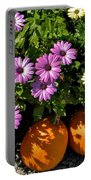 Purple Daisies And A Touch Of Orange Portable Battery Charger