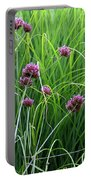 Purple Flowers And Grasses Portable Battery Charger