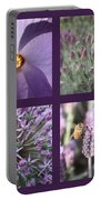 Purple Flowers Collage Portable Battery Charger