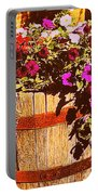 Purple Flowers In Rusty Bucket Portable Battery Charger