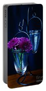 Purple Flowers Still Life Portable Battery Charger