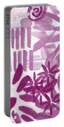 Purple Garden - Contemporary Abstract Watercolor Painting Portable Battery Charger