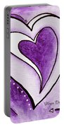 Purple Heart Love Painting Pop Art Blessed By Megan Duncanson Portable Battery Charger by Megan Duncanson