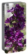 Purple Hollyhock Flowers Portable Battery Charger