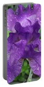 Purple Iris After The Rain Portable Battery Charger