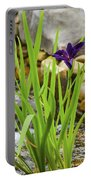 Purple Irises Growing In Waterfall Portable Battery Charger