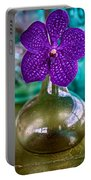 Purple Orchid In Vase Portable Battery Charger