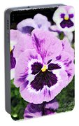 Purple Pansy Close Up - Digital Paint Portable Battery Charger