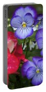 Purple Pansy Flowers By Line Gagne Portable Battery Charger