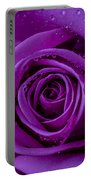 Purple Rose Close Up Portable Battery Charger