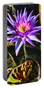 Purple Star Water Lily  By Diana Sainz Portable Battery Charger