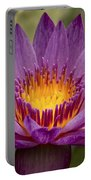 Purple Tropical Water Lily Portable Battery Charger