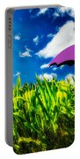 Purple Umbrella In A Field Of Corn Portable Battery Charger