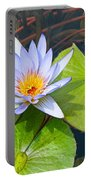 Purple Water Lily In Pond. Portable Battery Charger