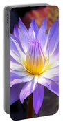 Purple Waterlily With Fall Lilypads Portable Battery Charger