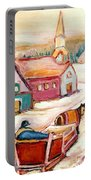Quebec City Street Scene Caleche Ride In The Village Portable Battery Charger