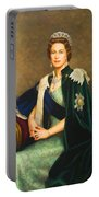 Queen Elizabeth II Portrait - Oil On Canvas Portable Battery Charger