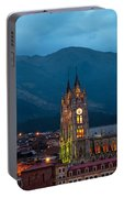 Quito Basilica At Night Portable Battery Charger