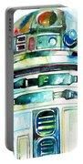 R2-d2 Watercolor Portrait Portable Battery Charger by Fabrizio Cassetta