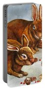 Rabbits In Snow Portable Battery Charger