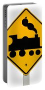 Railroad Crossing Steam Engine Roadsign On White Portable Battery Charger
