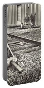 Railroad Tracks Bw Portable Battery Charger