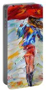 Rain Dance With Red Umbrella Portable Battery Charger