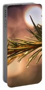 Rain Droplets On Pine Needles Portable Battery Charger