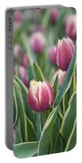 Rain Drops On Tulips Portable Battery Charger