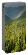 Rainbow And Sunlit Trees Portable Battery Charger