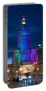 Palace Of Science And Culture In Rainbow Colors  Portable Battery Charger